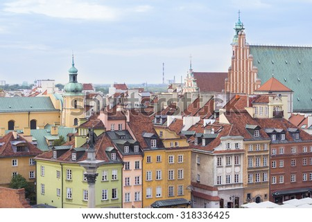warsaw city centre skyline - stock photo