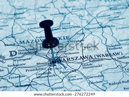 Warsaw destination in the map - stock photo