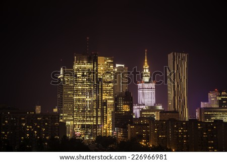 Warsaw Downtown at night, Poland - stock photo