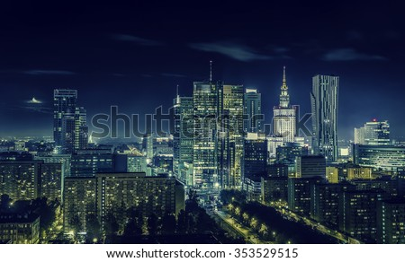 Warsaw downtown at night, Poland