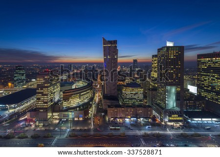 Warsaw downtown during the night, Poland - stock photo