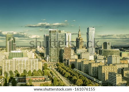 Warsaw downtown on sunny day - stock photo