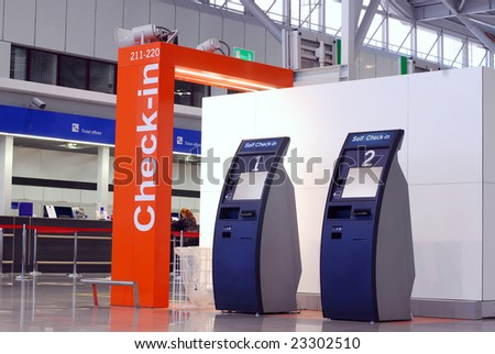 Warsaw Frederic Chopin international airport terminal two interior. - stock photo