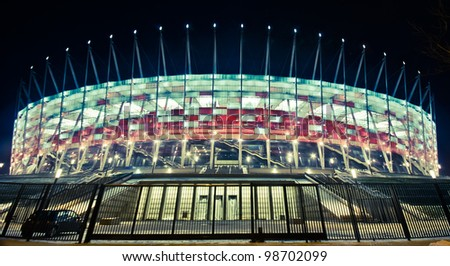 WARSAW - JAN 26: Construction site of Poland's National Stadium one year before the Euro 2012 on January 26, 2012. Poland and Ukraine will co-host the 2012 European Football Championship - stock photo