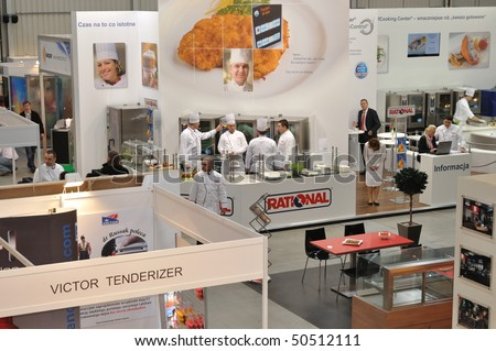 WARSAW - MARCH 26: Top view for the showroom - 14th International Food Service Trade Fair. March 26, 2010 in Warsaw, Poland.