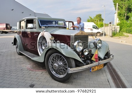 WARSAW - MAY 29: The vintage limousine - Rolls Royce Twenty 20HP (1927) on display at the classic car exhibition MOTO NOSTALGIA on May 29, 2011 in Warsaw, Poland. - stock photo