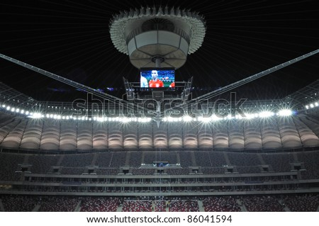 WARSAW - OCTOBER 02: Premiere presentation of the opening and closing the stadium roof during The Grand Open Day at the National Stadium on October 02, 2011 in Warsaw, Poland. - stock photo