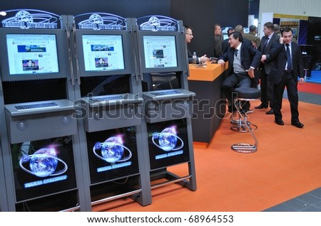WARSAW - OCTOBER 14: Self-serviced Internet kiosks showcase at the SUREXPO 2010 - Salon of Entertainment Devices on October 14, 2010 in Warsaw, Poland.