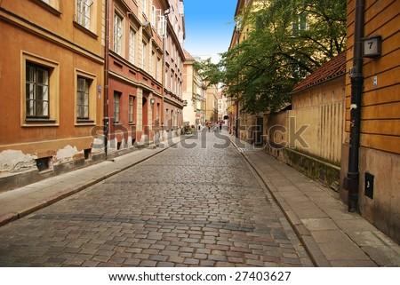 Warsaw old brick street pavement - stock photo