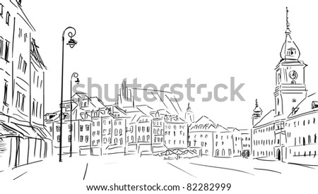 Warsaw - old town - stock photo
