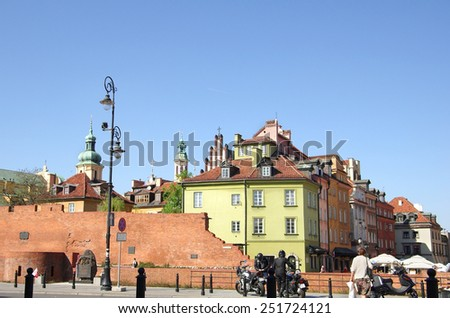 WARSAW, POLAND - APRIL 30: Central square on April 30, 2012 POLAND. Beautiful buildings of Old Town at Warsaw, attracting thousands tourists