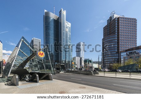 WARSAW, POLAND - APRIL 24, 2015: Entrance to the newly opened in March 2015 second line of Warsaw Subway. New line is 6.3 km long with 7 stations and it is planned 27 in total. - stock photo