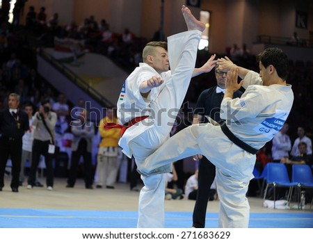 WARSAW, POLAND - APRIL 18, 2015 : European Championships Karate Shinkyokushin 2015 o/p fighters full contact
