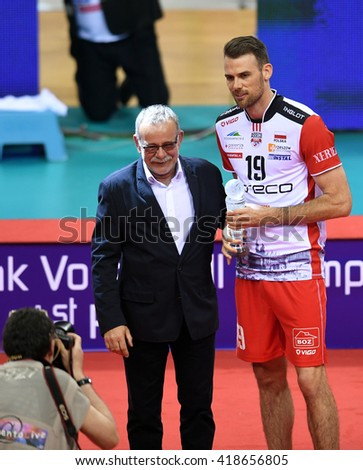 WARSAW, POLAND - APRIL 17, 2016: Volleyball Champions League Final Four Zenit Kazan Trentino Diatec