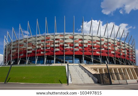 WARSAW, POLAND - APRIL 22,2012: Warsaw National Stadium on April 22, 2012. The stadium was constructed in 2011 to meet euro 2012 football championship