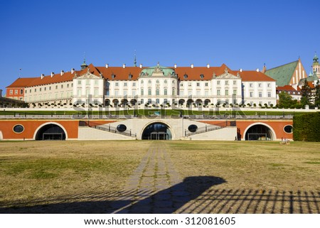WARSAW, POLAND - AUGUST 18, 2015: Baroque Royal Palace, during World War II burnt down in 1939, completely destroyed in 1944, restored early 70s of the 20th century - stock photo