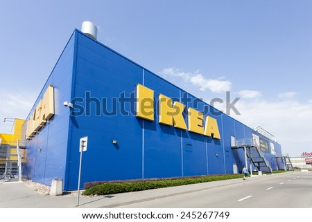 Warsaw, Poland - August 03, 2014: Building of the IKEA store in Warsaw. IKEA was founded in Sweden and is the world's largest furniture retailer. - stock photo