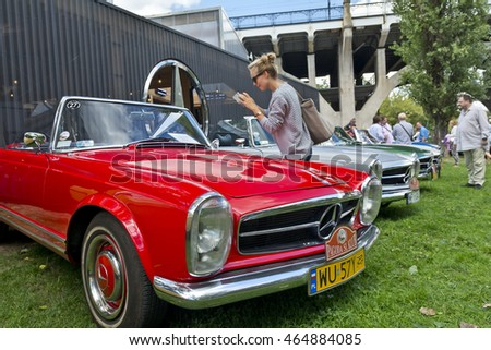 Warsaw, Poland - August 07, 2016: Exhibition of classic and vintage Mercedes in Warsaw.