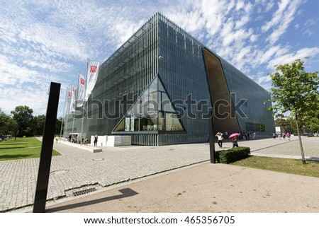 WARSAW, POLAND - AUGUST 05, 2016: Modern building of the Museum of the History of Polish Jews that is commonly known as The Polin. The museum documents the millennial tradition of Jews in Poland