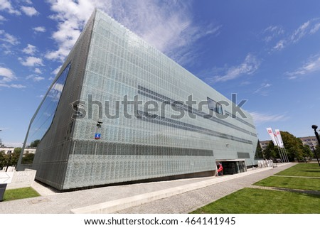 WARSAW, POLAND - AUGUST 05, 2016: Museum of the History of Polish Jews that is commonly known as The Polin. The museum documents the millennial tradition of Jews in Poland