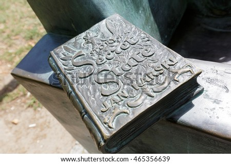 WARSAW, POLAND - AUGUST 05, 2016: Story of a Secret State by Jan Karski describes the memoirs of World War II and the Holocaust. it is a part of the statue that commemorates the author of this book