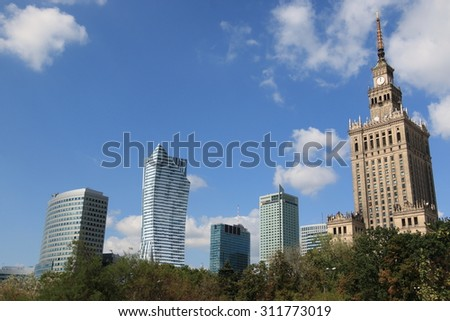 WARSAW, POLAND - AUGUST 29, 2015: The beautiful view of downtown Warsaw with the distinctive Palace of Culture and Science. - stock photo
