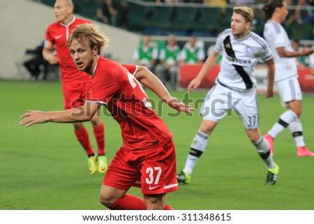 WARSAW, POLAND - AUGUST 27, 2015: UEFA Europe League qualifications football match between Legia Warsaw (Poland) and Zoria Lugansk (Ukraine) in Warsaw. Legia beat Zoria 3:2 - stock photo