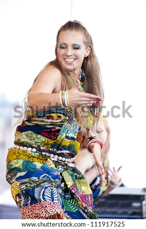 WARSAW, POLAND, AUGUST 26: Unidentified dancer on the stage on Warsaw Multicultural Street Parade on August 26, 2012 in Warsaw, Poland.