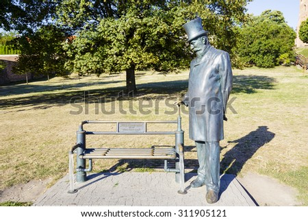 WARSAW, POLAND - AUGUST 18, 2015: William Heerlein Lindley monument, by sculptor Norbert Sarnecki, unveiled on May 7, 2011