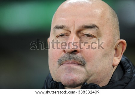 WARSAW, POLAND - DECEMBER 08, 2015: T-Mobile Extra League Polish Premier Football League Legia Warsaw Pogon Szczecin o/p: Stanislav Cherchesov Czerczesow
