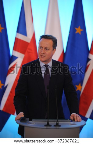 WARSAW, POLAND - FEBRUARY 5, 2016 : British Prime Minister David Cameron during meeting with Prime Minister of Poland Beata Szydlo - stock photo