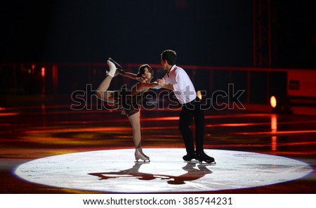 WARSAW, POLAND - FEBRUARY 27, 2016:Kings on Ice figure skating jump show made by Evgeni Plushenko and life music by Edvin Marton Emmy award winner n/z Stephane Lambiel