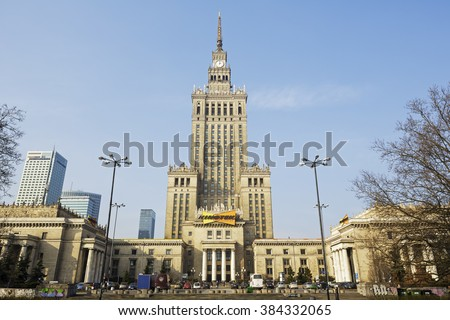 Warsaw, Poland - February 28, 2016: Palace of Culture and Science, the tallest building in Poland with an overall height of 237 meters. It is a home to many companies and public institutions