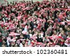 WARSAW, POLAND - FEBRUARY 29: Polish football fans during the friendly football match between Poland vs Portugal on February 29, 2012 in Warsaw, Poland. Final results: Poland - Portugal 0:0 - stock photo