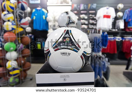 WARSAW,POLAND-JAN. 24: tango ,the official ball of EURO2012 sold in a shop on January 24, 2012 in Warsaw,Poland. Ukraine and Poland will co-host EURO 2012 Football championships. - stock photo