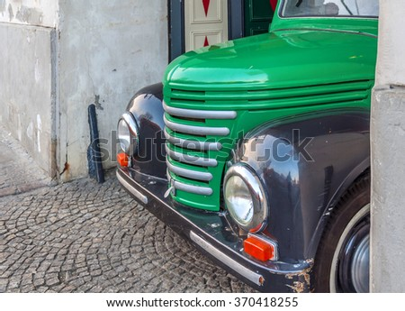 WARSAW, POLAND - JANUARY 04, 2016 Classic Chevrolet Pickup truck in Podwale 25 street in Warsaw Old Town loaded with a lot beer barrels - stock photo