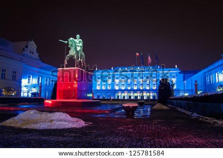 WARSAW, POLAND - JANUARY 20: The Presidential Palace in Warsaw, Poland, is the elegant classicist latest version of a building that has stood on the Krakow suburb. Night view on JANUARY 20 2013.
