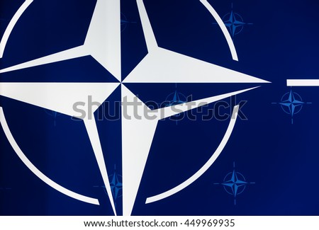 WARSAW, POLAND - Jul 9, 2016: Emblem of the North Atlantic Treaty Organization at the NATO summit in Poland