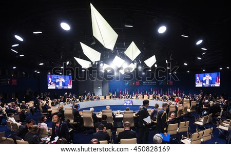 WARSAW, POLAND - Jul 9, 2016: NATO sammit. World leaders during a meeting of the North Atlantic Treaty Organization summit in Warshaw, Poland