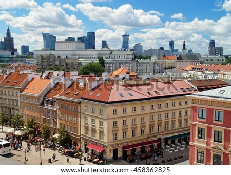 WARSAW, POLAND, 20,JULY 2016 ; Krakowskie Przedmiescie street , part of the Royal Route in the city of Warsaw, Poland.View from the church tower ?w.Anny