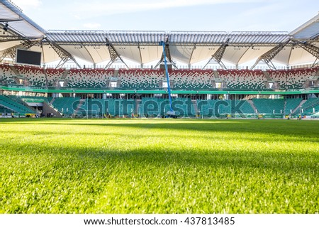 Warsaw, Poland - July 1, 2015: Legia stadium during sunny, summer day