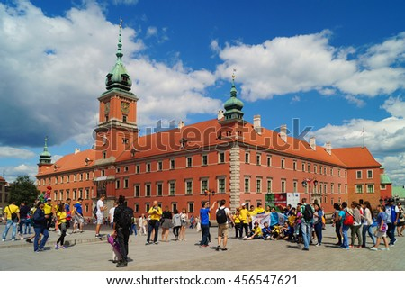 WARSAW, POLAND, 20,JULY 2016 ;Old Town, the historic Castle Square, Royal Castle World Youth Day in Warsaw