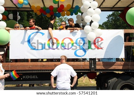 WARSAW, POLAND - JULY 17: Rainbow google in Europride to support gay rights on July 17, 2010 in Warsaw, Poland. - stock photo