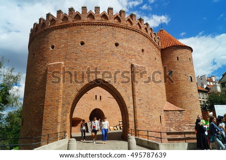 WARSAW, POLAND, 20,JULY 2016 ; Warsaw Old Town with Renaissance Barbican - Sights of Poland