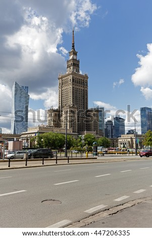 WARSAW, POLAND - JUNE 11, 2016: Famous Palace of Culture and Science that is the tall building with an overall height of 237 meters is located in downtown - stock photo