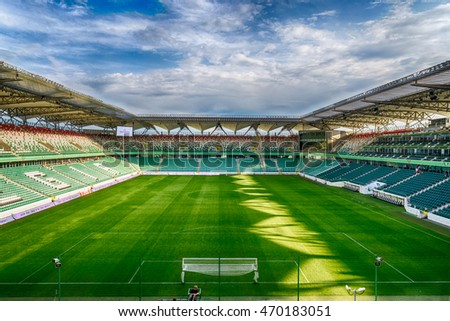 WARSAW, POLAND - JUNE 4: Legia Warszawa football stadium during open day for fans after winning league championship on 4th June 2016 in Warsaw, Poland.