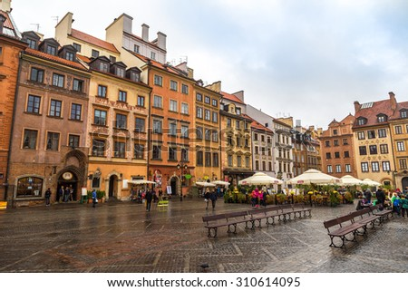 WARSAW, POLAND - JUNE 29: Old town square in Warsaw in a summer day, Poland on June 29, 2014