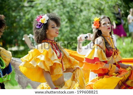 WARSAW, POLAND, June 8: Unidentified Carnival dancer on the parade on XII Brazilian Festival on June 8, 2014 in Warsaw, Poland. - stock photo