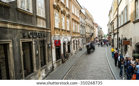 Warsaw, Poland - june 20, 2015: view on a street in okd part of Warsaw downtown