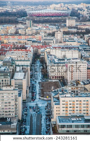 WARSAW, POLAND - MARCH 16: Aerial view with National Stadium on March 16, 2014 in Warsaw city centre - stock photo